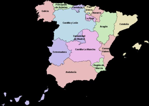 Mapa das Comunidades Autónomas de Espanha